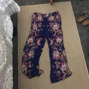 Floral Bell Bottom Cotton Pants
